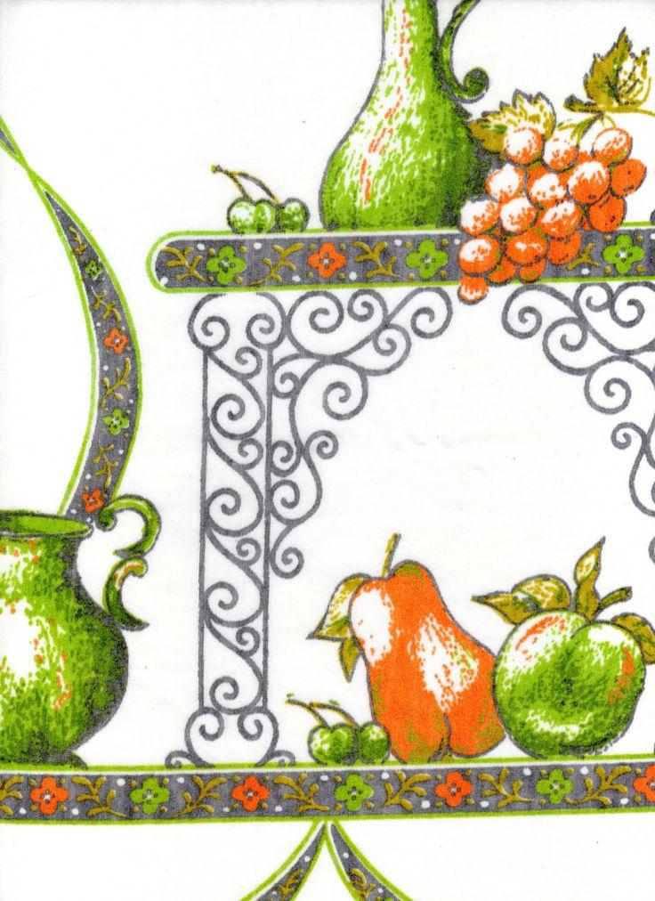Vintage Retro '70s Semi Sheer Kitchen Curtain Panels & Valance Set Orange Avocado Green Fruit Teapot and Condiment Cruets Design by AlysVintageAlcove on Etsy https://www.etsy.com/listing/499638834/vintage-retro-70s-semi-sheer-kitchen
