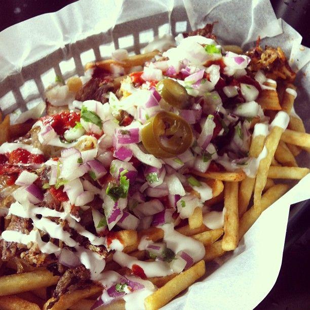 Vatos Urban Tacos: Mexican-Korean fusion food. Their kimchi carnitas fries are amazing.