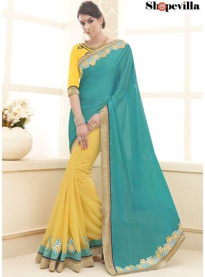Elegant Cyan & Yellow Colour Georgette Half-Half Party Wear Saree-20233