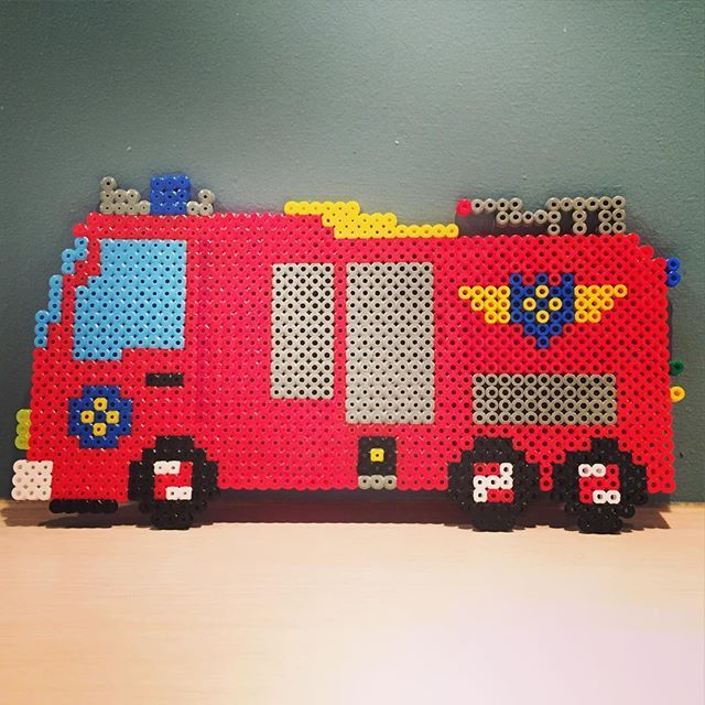 Fire truck hama beads by merethefo