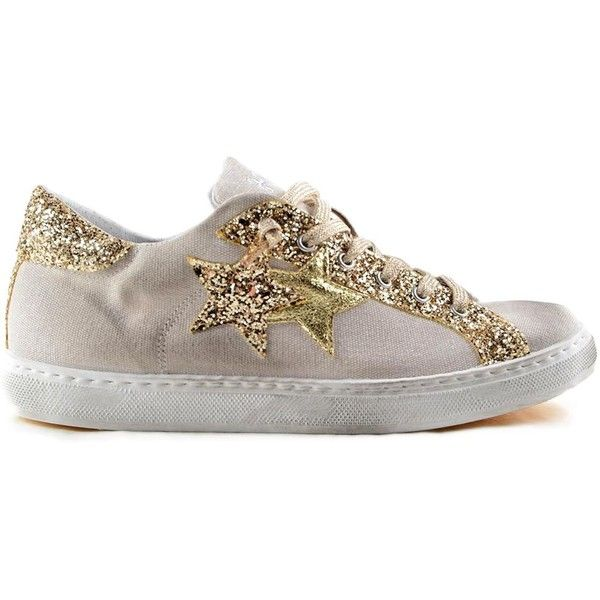 2 Star Glitter Detail Sneakers ($91) ❤ liked on Polyvore featuring shoes, sneakers, metallic, womenshoes, glitter sneakers, glitter trainers, star shoes, laced up shoes and metallic sneakers