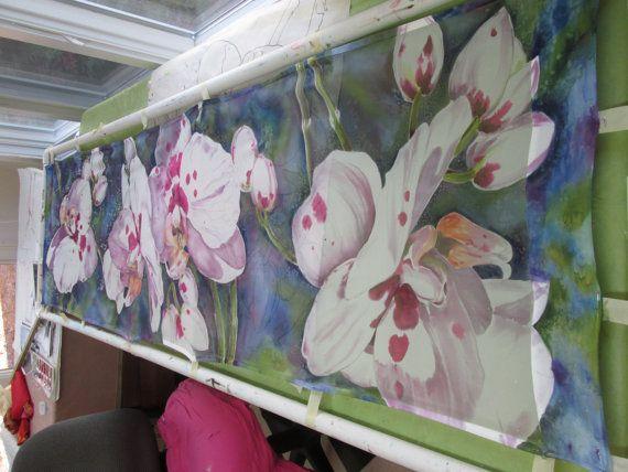 ORCHIDEE bianche involucro di seta dipinte a mano di SilkSiren
