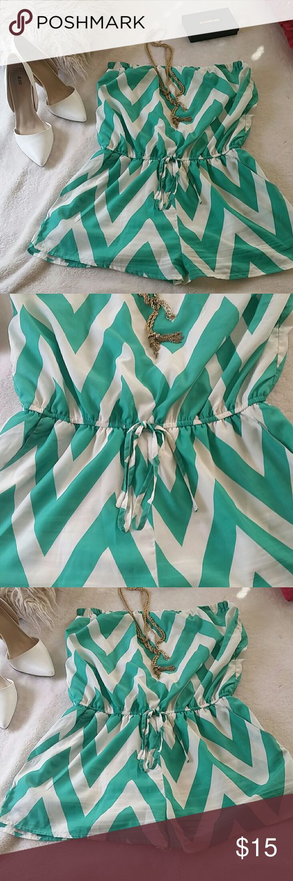 Cute shorts romper Very cute white and mint shorts romper style with cute sandals or heels any way very cute a'gaci Shorts