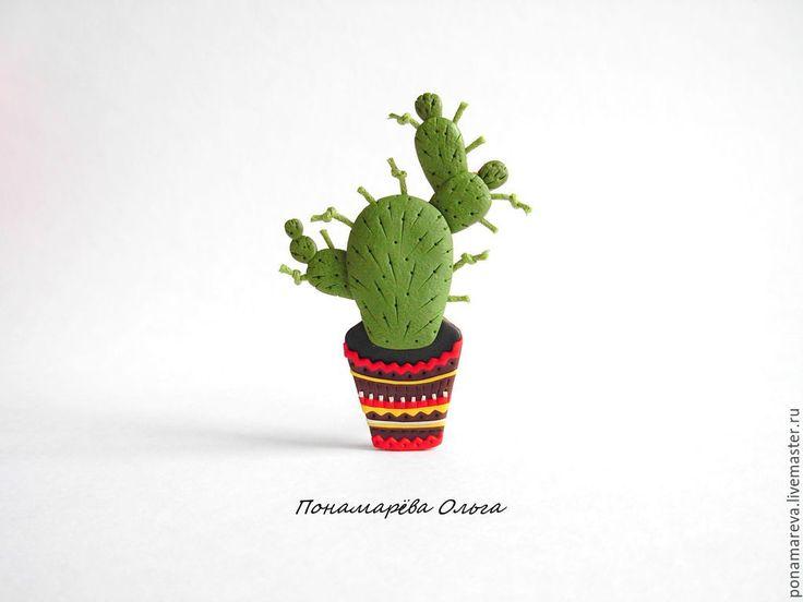 Купить Кактус. Брошь. - кактус, брошь кактус, мексика, мексиканский стиль, брошь цветок