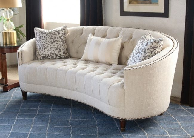 Curved Back Button Tufted Sofa With Nailhead Trim 2