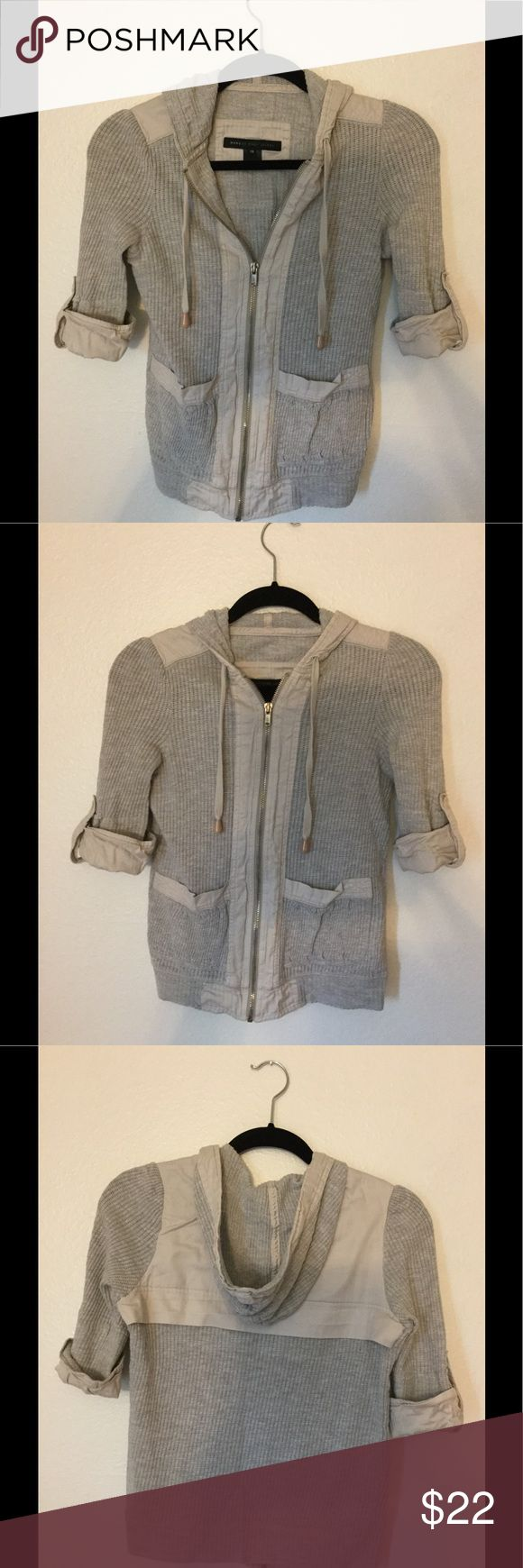 Marc by Marc Jacobs- Zip up hoodie jacket shirt Gray & khaki beige, Zip up hoodie jacket shirt. Looks great over tank tops! Size XS  * Item is from a smoke free and pet free home. Marc By Marc Jacobs Tops