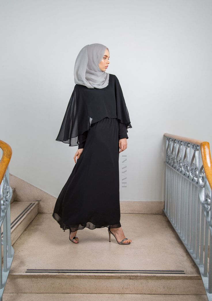INAYAH   Our stunning and elegant Cape Maxi Dresses are available in-store in all sizes. If you've booked a slot for our launch week, you are still in time to receive 10% off your purchases!  Black Cape Maxi Dress - available online next week +  Feather Grey Maxi  Georgette Hijab - www.inayah.co