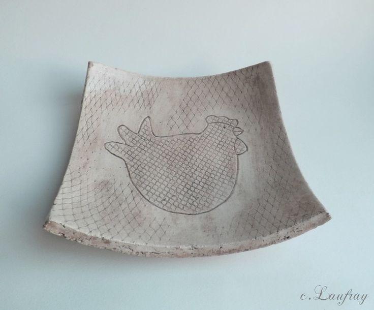 Coupelle c ramique motif poule et grillage style campagne for Tapis de cuisine motif poule