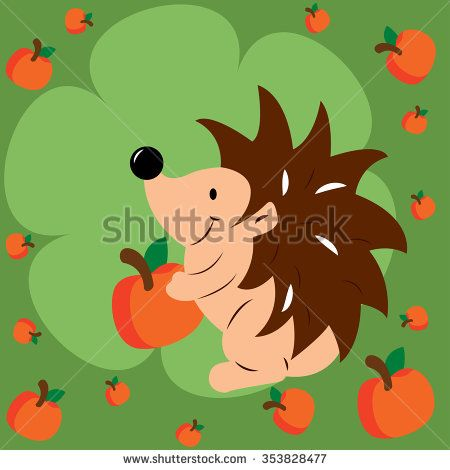 Vector illustration of hedgehog with apple - stock vector
