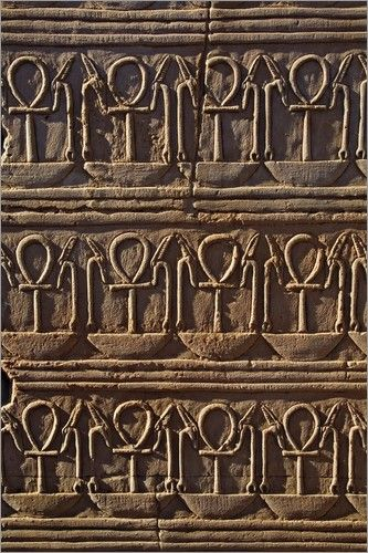 """Ankh symbol in Egyptian hieroglyphs at the Temple of Kom-Ombo. Its meaning represents aspects of life itself, such as """"zest for life"""", """"eternal life"""", or """"future life"""". The reason for this interpretation is because the loop is the perfect symbol having neither a beginning nor end and stands for the soul which is eternal because it has sprung from the spiritual essence of the Egyptian gods. The ankh was associated with water, the sustainer of all life."""