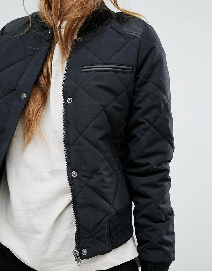 Noisy May | Noisy May Quilted Bomber with PU Detail at ASOS