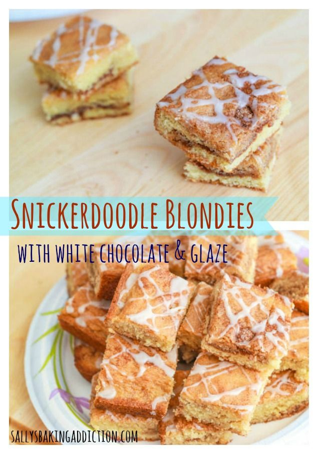 Easy recipe for Snickerdoodle Blondies. Stuffed with a cinnamon sugar swirl and topped with a 3 ingredient vanilla glaze.  Soft, chewy, and easy to make!