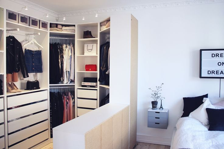 Create your own walk in closet in the bedroom. How did I not think of this?