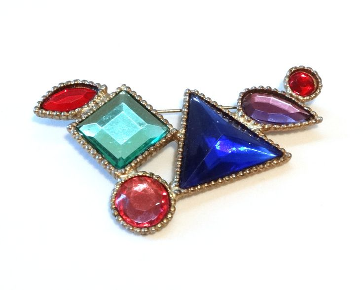 """Large Vintage Art Deco Pin Brooch Colorful Plastic """"Stones"""" Gold Tone Metal w Mirrored Open Backs Geometric Shapes Scarf Clip"""
