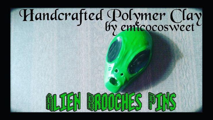 Alien Brooch,Alien Pins,90s grunge pins,90's Pins Brooch,Alternative fashion #Handmade