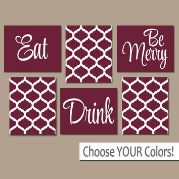 EAT DRINK be Merry CANVAS or Prints Maroon Kitchen Wall Art, Quatrefoil Artwork, Choose Your Colors, House Warming Gift Set of 6 Home Decor