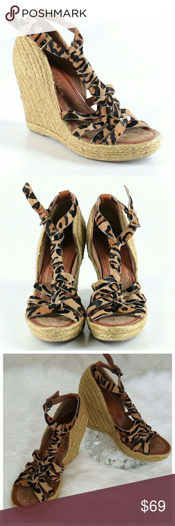 """Sam Edelman Espadrille Leopard 'Leroy' Wedges 6M SAM EDELMAN """"Leroy"""" Leopard Print Calf Hair Raffia Espadrille Wedges. Super cute high wedges with animal print straps.   Details: open toe, leather braided t-strap, adjustable buckle ankle, woven raffia-wrapped platform wedges. Approximately 4"""" heel with 1 ¼"""" platform.  Color: Nude – Leopard print Size: 6M (medium width) Condition: Very good condition with normal, minimal wear. Sam Edelman Shoes Espadrilles #WedgeHairstylesMom"""