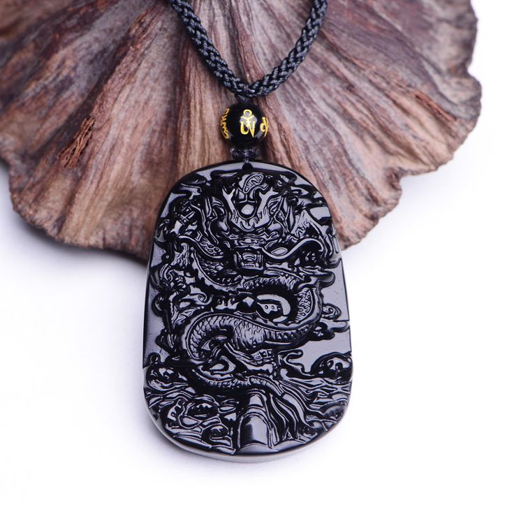 Drop Shipping Unique Natural Black Obsidian Carving Dragon Lucky Amulet Pendant Necklace For Women Men pendants Jade Jewelry
