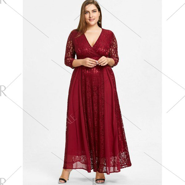 Plus Size Empire Waist Lace Surplice Dress - Wine Red 5xl Mobile