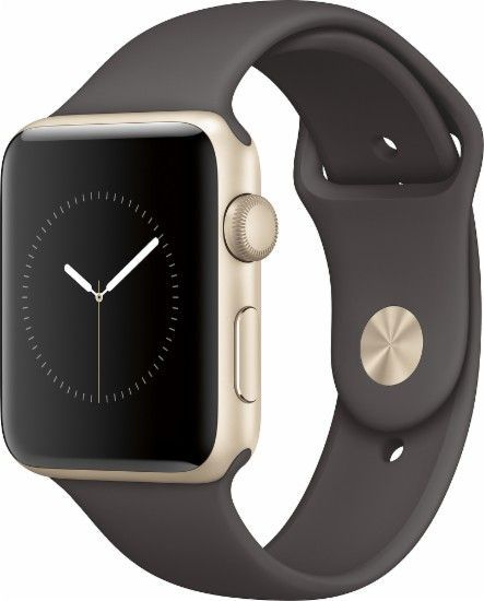 Apple - Apple Watch Series 2 42mm Gold Aluminum Case Cocoa Sport Band - Gold Aluminum - Front Zoom