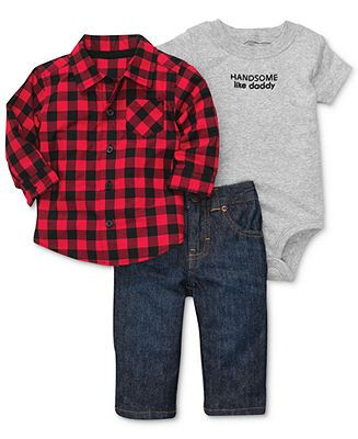 Carter's Baby Set, Baby Boys 3-Piece Bodysuit, Shirt and Pants - Kids Newborn Shop - Macy's