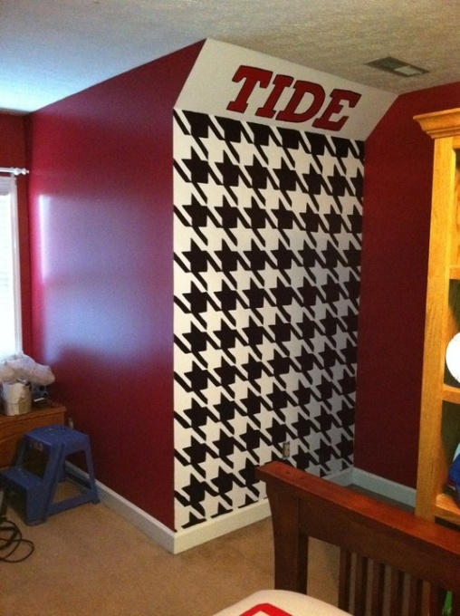 Roll tide houndstooth mural sports pinterest roll for Alabama football mural
