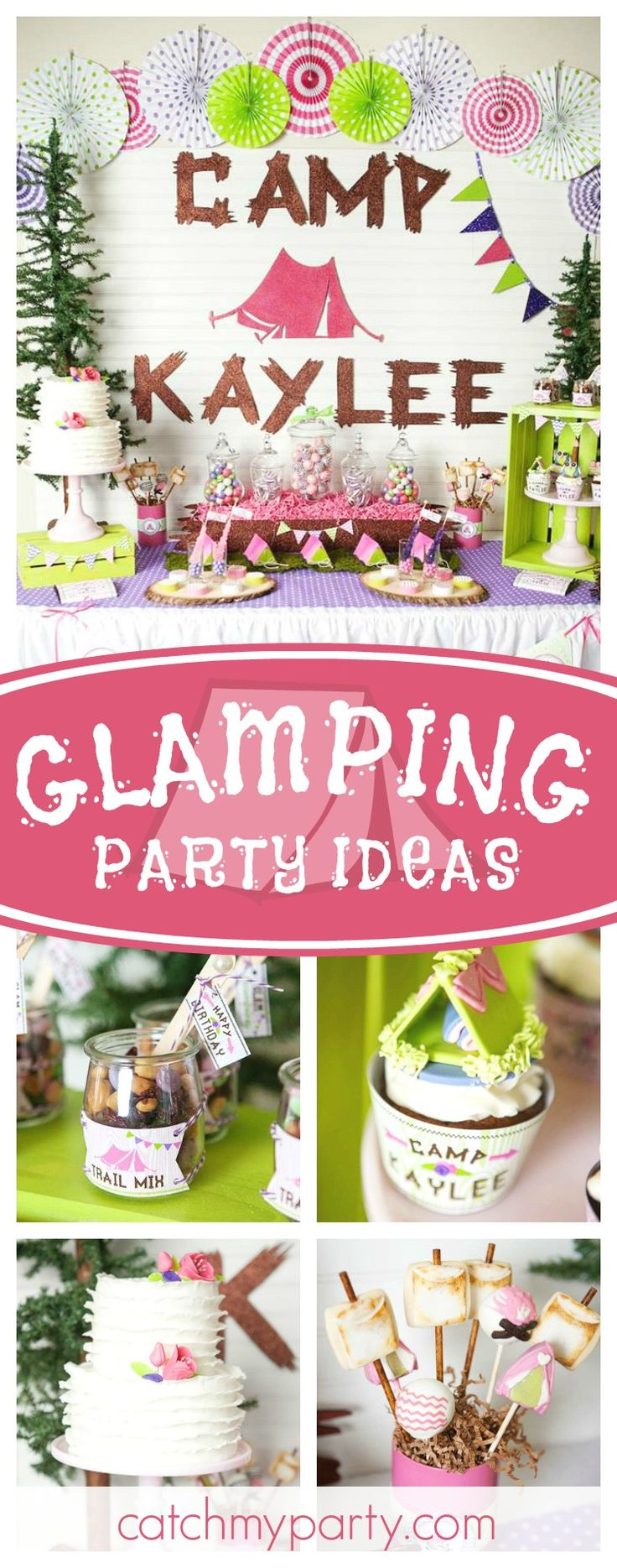 Go camping in style with this fantastic Glamping birthday party!! The cupcakes topped with little tents are gorgeous!! See more party ideas and share yours at CatchMyParty.com