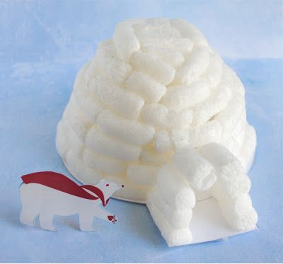 Have a ton of packing peanuts laying around? Put them to use with this cute igloo project || #LittlePassports #winter #crafts for #kids