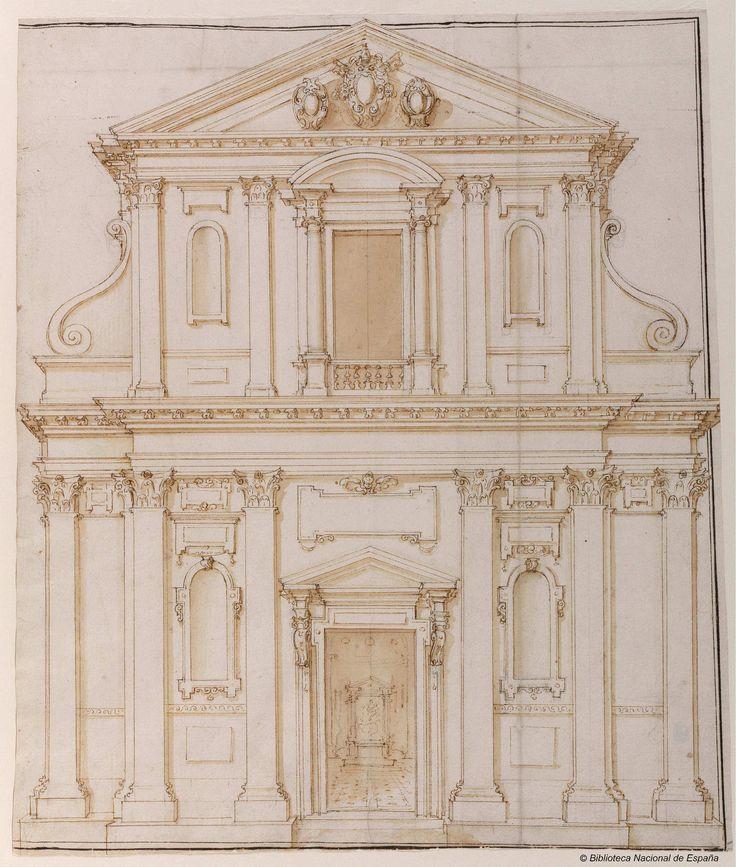 [Alzado de la fachada de la iglesia de Santa Maria dei Monti, Roma]. Della Porta, Giacomo 1532-1602 — Dibujo — 1580