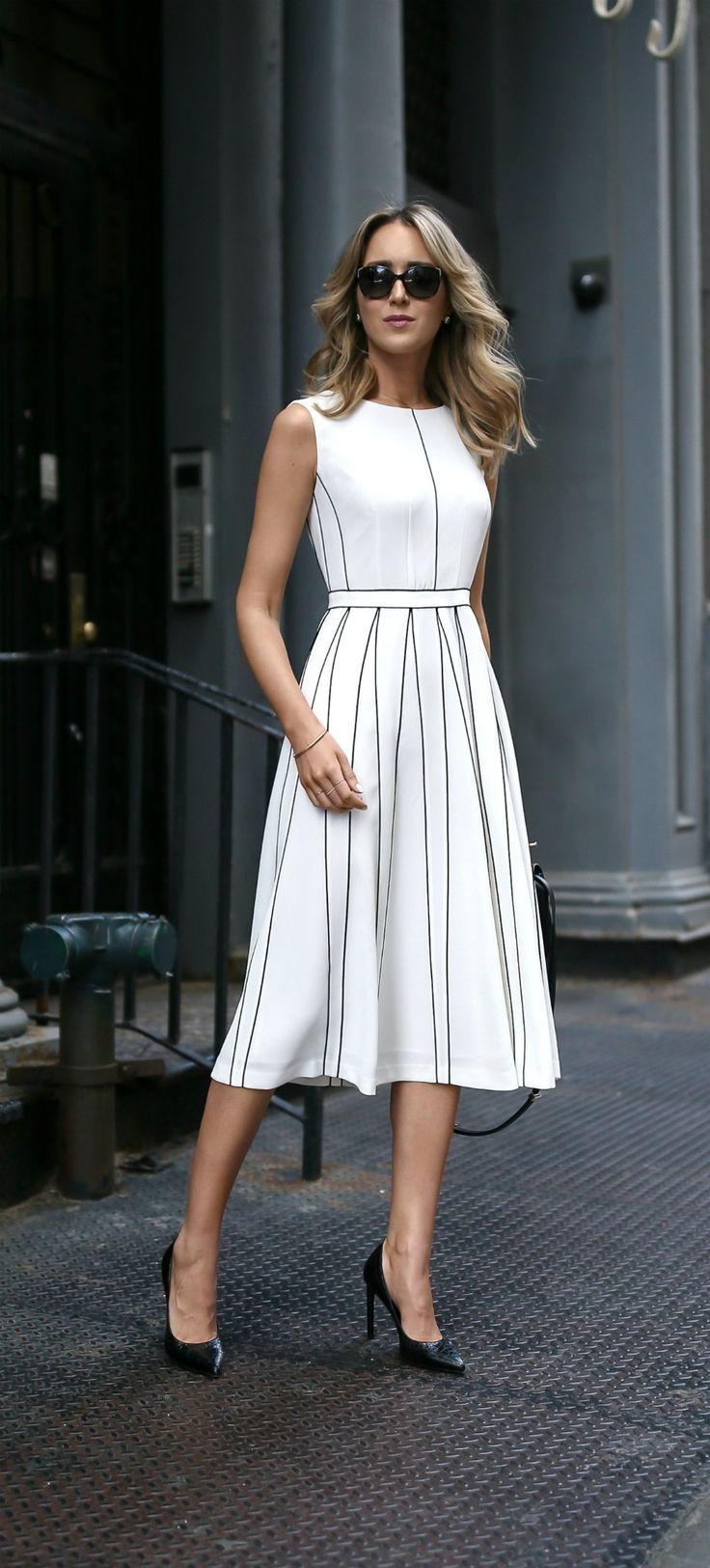 White Pleated Sleeveless A Line Midi Dress With Black