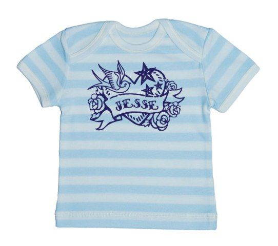 Looking for a personal baby gift? At ChillFish Design we we sell custom made ecolicious baby T-Shirts and bodysuits with the baby's name. This is our Forever Yours T-Shirt design, available at chillfishdesign.com.