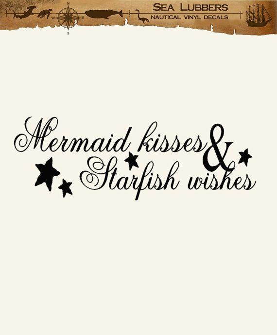 Mermaid Beach Decor Wall Decal Word Quotes, Mermaid Kisses and Starfish Wishes, vinyl lettering decoration letters via Etsy