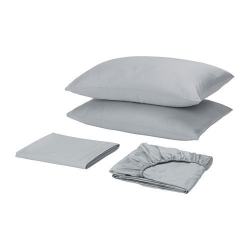 """IKEA - SKOGSNARV, Sheet set, Queen, , Sateen-woven bed linen in cotton is very soft and pleasant to sleep in, and has a pronounced luster that makes it look beautiful on your bed.The combed cotton gives the bed linen an extra smooth and even surface which feels soft against your skin.Fits mattresses with a thickness up to 13"""" since the fitted sheet has elastic edging."""
