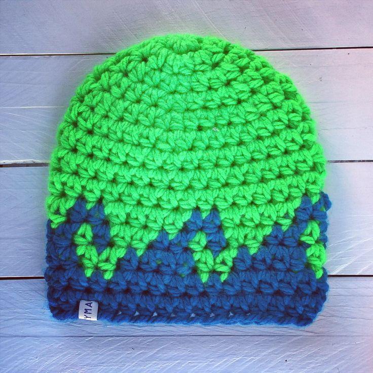 handmade ~ surfer mütze ~ surf beanie ~ crochet hat ~ neon wave  ~ surfstyle ~ http://kymastyle.com ~ shop: http://kymastyle.dawanda.com
