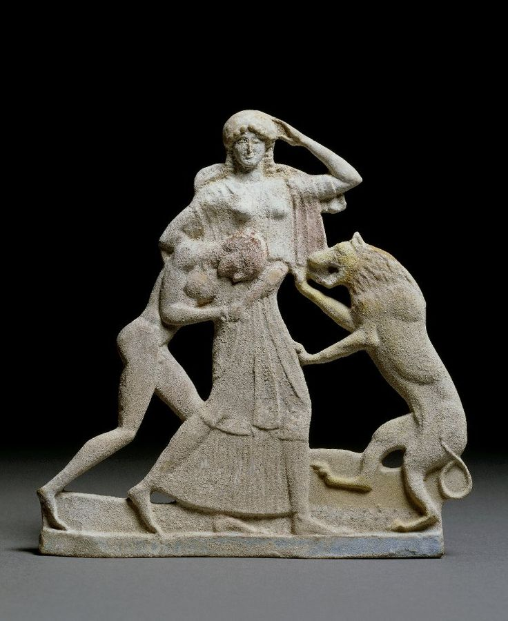 Terracotta Relief With Peleus And Thetis A Lion Indicates