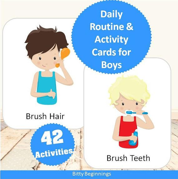 Daily Routine & Activity Cards for Boys.  by Bittybeginnings