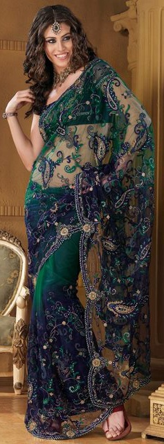 Green and Blue Colors Designer Sari Embroidery Work