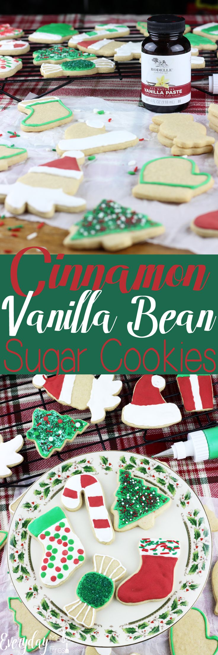 A dash of cinnamon and vanilla bean paste make these Cinnamon Vanilla Bean Sugar Cookies perfect. Well that, and that this a no chill sugar cookie dough!  EverydayMadeFresh.com http://www.everydaymadefresh.com/cinnamon-vanilla-bean-sugar-cookies/