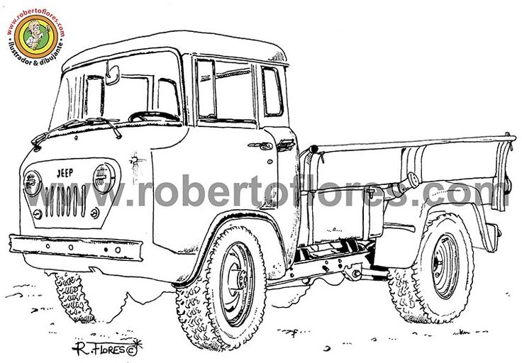 Black and white #illustration, drawn with #pencil and #markers, of the  #jeep Forward Control or FC. This was a a truck made by Willys and then Kaiser Jeep, from 1956 to 1965. Also, it was made at another countries, by companies as Mahindra from India.