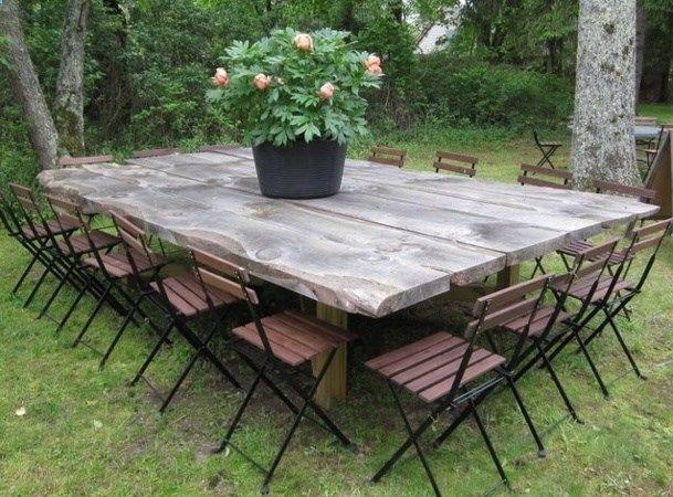 Camping Table Tables De Jardin Originales Insolites Recyclees Avec De Grandes Planches De Bois Vous Obtenez Backyard Dining Diy Patio Table Outdoor Dining