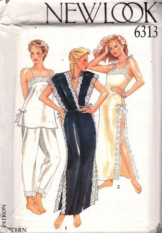 New Look 6313 Misses Sexy Lacy Negligee Nightgown and Pajamas Square or V Neck Side Slits womens vintage 80s sewing pattern by mbchills