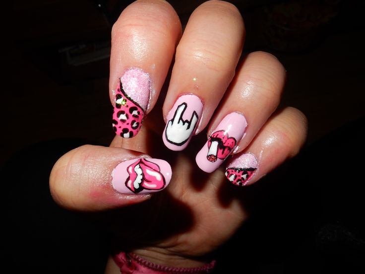 rock punk nail art