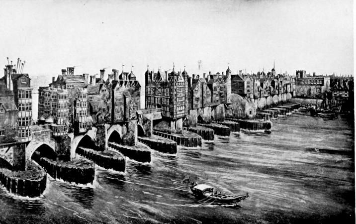 "Old London Bridge. ""From a model by John Thorp in the London Museum."" From London past and Present In the section ""Before the Great Fire, 1666,"" p. 21. Traitor's Gate appears at the extreme left, the Drawbridge on Nunsuch House in the center, and St. Magnus Church at the extreme left."