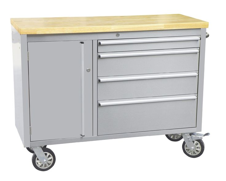 """37.5"""" Wide 4 Drawer Stainless Steel Anti-Fingerprint Tool Chest with Work Station"""