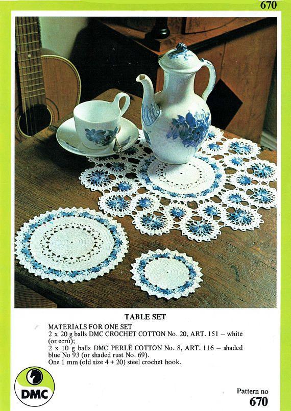 PDF Vintage FLORAL Doily Set Crochet Pattern DMC 670 1970s