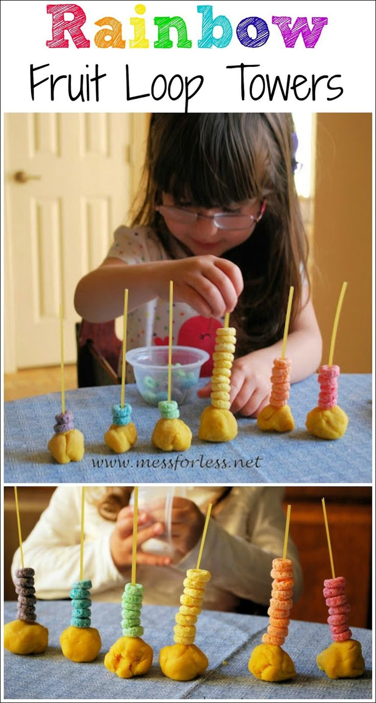 Rainbow Fruit Loop Towers - I love how this combines fine motor skills with fun rainbow activities.
