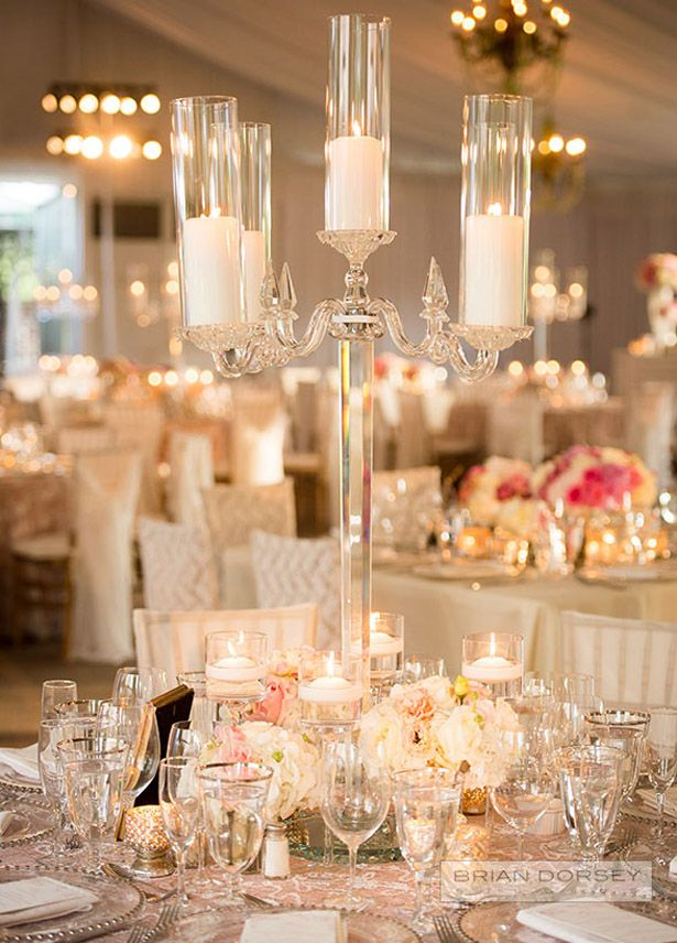 Crystal candelabra and flowers ~ Colin Cowie Celebrations //  Brian Dorsey Studios