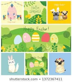 Happy Easter cards in the flat design. Vector illustrations of easter eggs on the nature view and with cute puppy dogs and cats with rabbit ears, spri…
