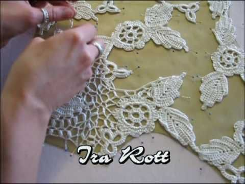 ▶ irish crochet 2  how to crochet the net around motiv- YouTube
