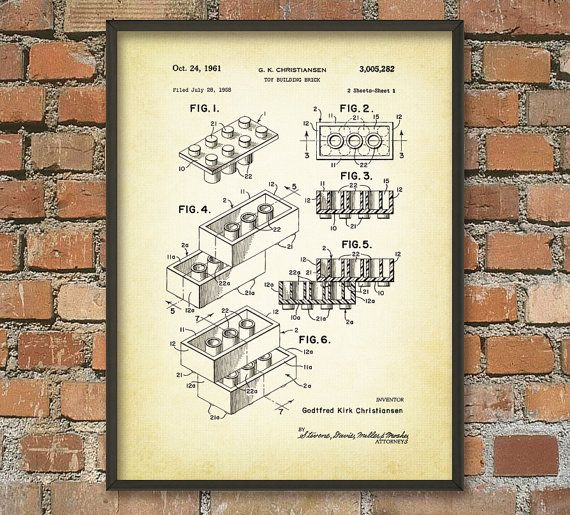 Lego Patent Wall Art Poster 2 by QuantumPrints on Etsy, £4.00